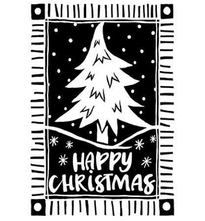 Stempel Lino Cut Christmas Tree, Creative Expressions, Woodware