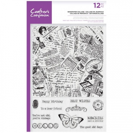Crafter's Companion Photopolymer Large Background Stamp - Newspaper Collage