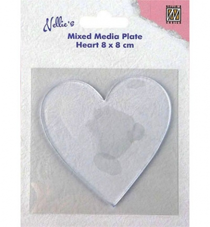 Gelli Printing Plates Herz, Heart-shape, Mixed Media, Nellies Choice