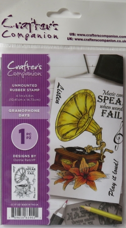 Unmounted Rubber Stamp Gramophone Days, Crafters Companion