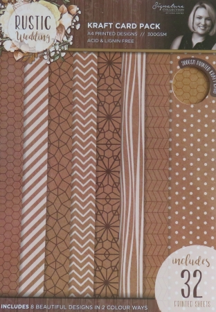 Sara Signature Rustic Wedding A4 Printed Kraft Card Pad, Crafters Companion