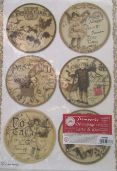 Decoupage Rice Paper - Post Card Spheres Stamperia