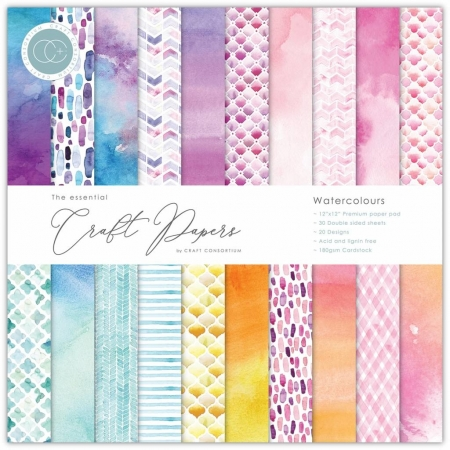 Craft Consortium Essential Craft Papers 6x6 Inch Paper Pad Watercolours