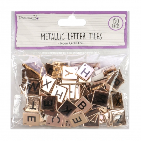 Dovecraft Rose Gold Chipboard Letter Tiles