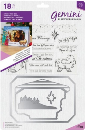 Gemini Photo Frame Stamp and Die - Christmas Blessings, Crafters Companion
