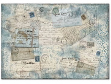 Decoupage Rice Paper - Blue Postcards Stamperia