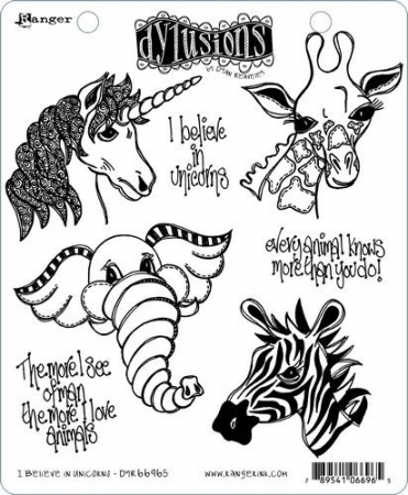 Ranger Dylusions Cling Stamp Set I Believe in Unicorns, Dyan Reaveley