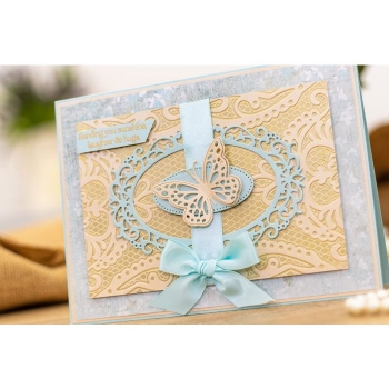 Sara Signature Vintage Lace Embossing Folder - Venetian Lace