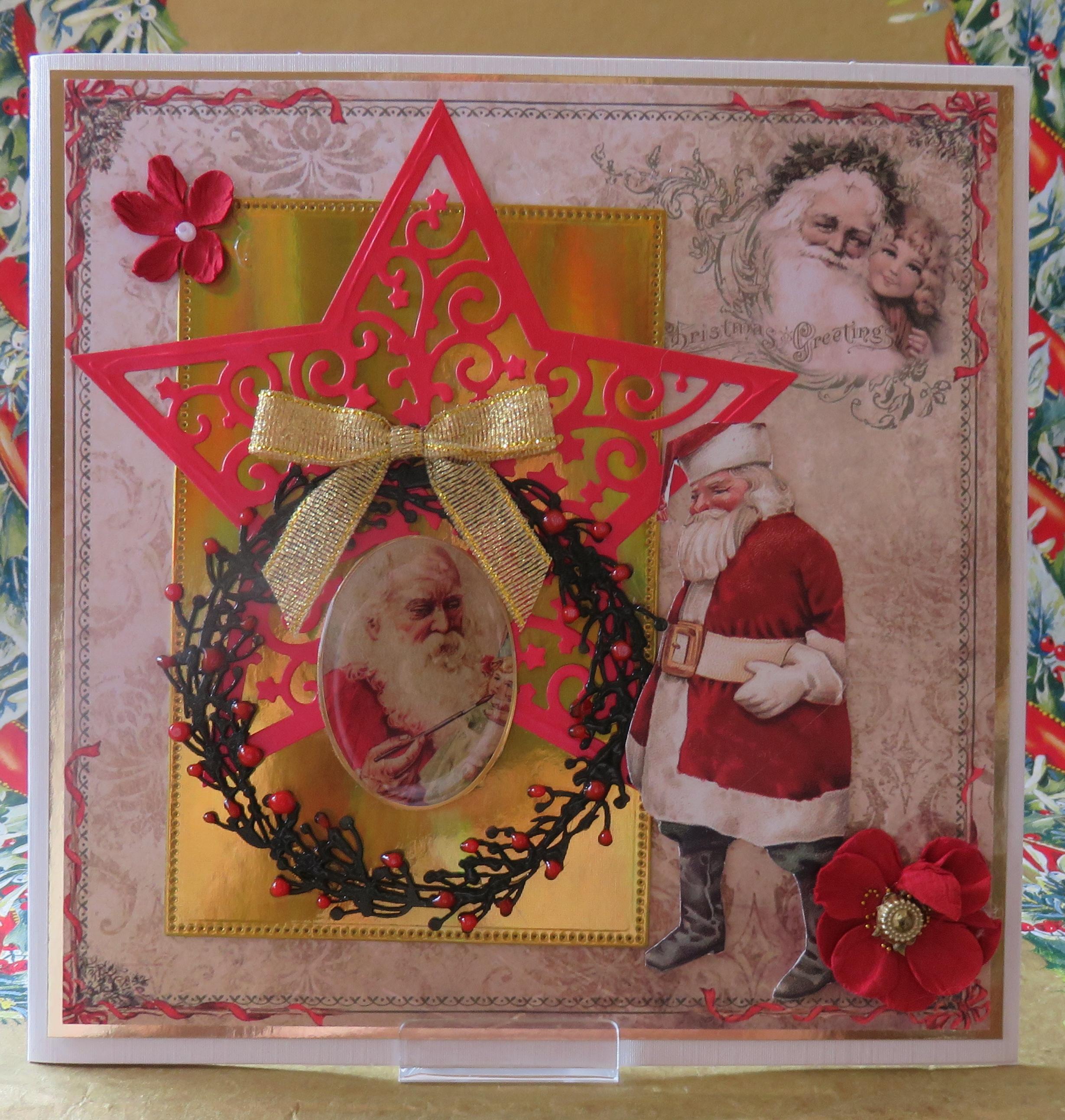 Weihnachten Nostalgisch.Grußkarte Weihnachten Nostalgisch Weihnachtsmann