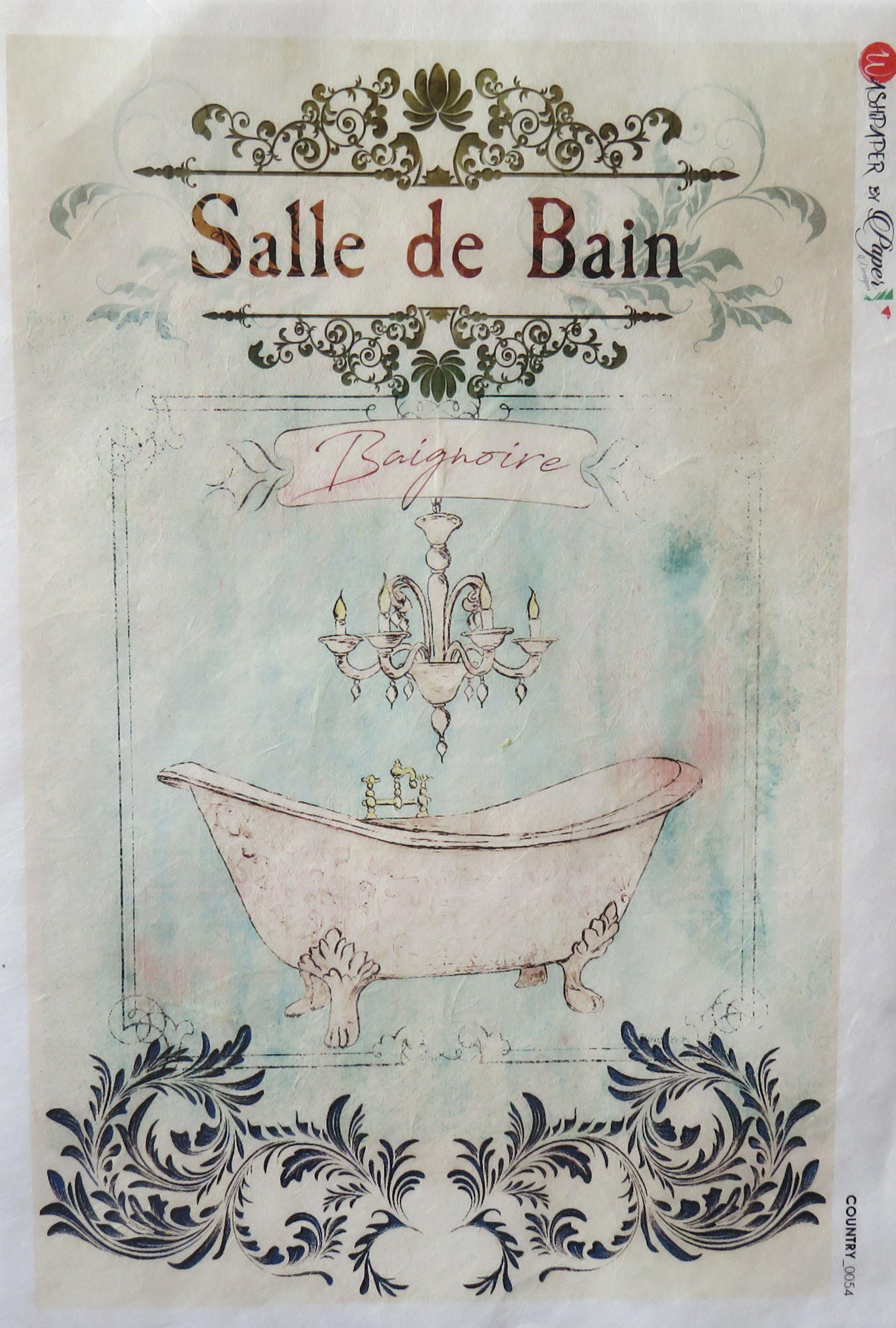 Decoupage Rice Papier, Salle de Bain, Badezimmer, Paper Designer