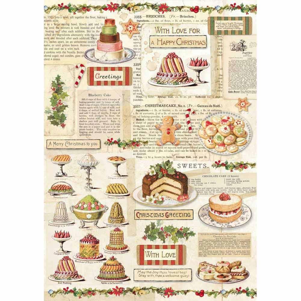 Decoupage Rice Paper Weihnachtsbackerei Kuchen Geback Stamperia