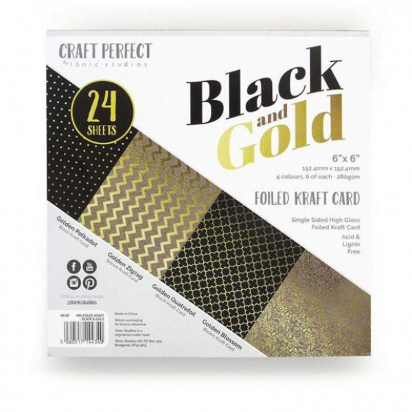 "Tonic Studios • Craft perfect embossed 6x6"" black & gold"