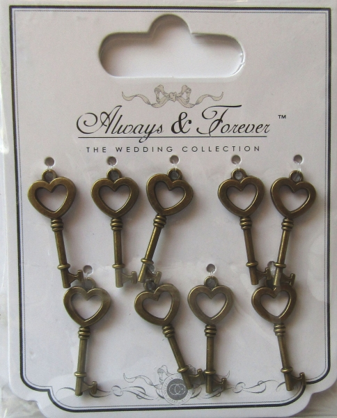 Always & Forever - Vintage Metal Key Charms, Craft Consortium