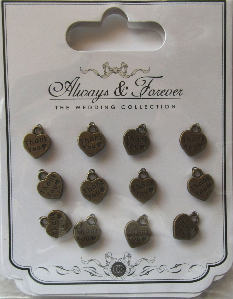 Always & Forever - Vintage Heart Charms - Thank you, Craft Consortium