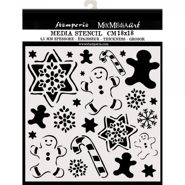 Stamperia Thick Stencil 18x18cm Gingerbread